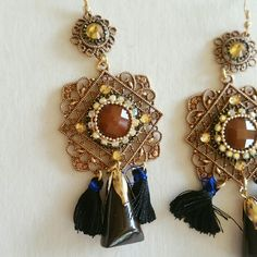 Brown tassel statement dangling earrings Brown and black tassel statement dangling fashion earrings with rhinestones  Color: rose gold tone | 4 inch drop length  Condition: perfect condition | light weight| boutique  Jewelry Earrings