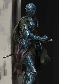 The Cobalt Guard, a group of lawful mercenaries from Northstar. Fantasy Character Design, Character Design Inspiration, Character Art, Medieval Armor, Medieval Fantasy, Fantasy Armor, Dark Fantasy, Armor Concept, Concept Art