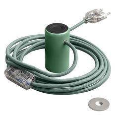 Magnetico®-Plug lamp 3 m of textile cable Green - magnetic fixing lamp Light Project, Plugs, Magnets, Bulb, Metal, Lighting Ideas, Corks, Onion, Gauges