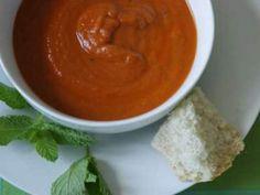 Receta Entrante : Sopa de berenjenas y pimientos asados por Macu2010