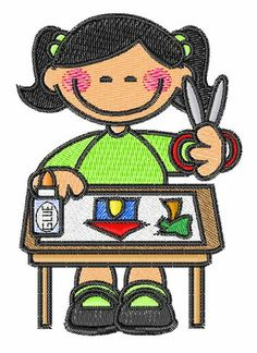Concord Collections Embroidery Design: Girl Artist 3.20 inches H x 2.22 inches W