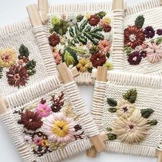 Brown Paper Bag — Embroidered knittings by Fleur Lyon Más Weaving Projects, Weaving Art, Tapestry Weaving, Loom Weaving, Hand Weaving, Ribbon Embroidery, Embroidery Art, Cross Stitch Embroidery, Embroidery Designs