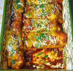 If you are displaced, these enchiladas will bring you back to Texas. Careful though. They're habit-forming.