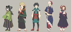 Boku no Hero Academia || Tsuyu Asui, Katsuki Bakugou, Midoriya Izuku, Todoroki Shouto., Uraraka Ochako.