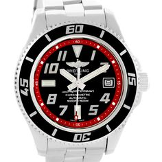 Breitling Superocean 42 Abyss Black Red Dial Steel Mens Watch A17364