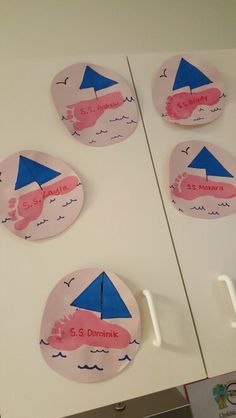 Sail boats footprint boats toddler art