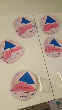 Sail boats footprint boats toddler art