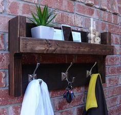 Rustic Entryway Foyer 3 Hanger Hook Coat Rack Mail by KeoDecor, $80.00