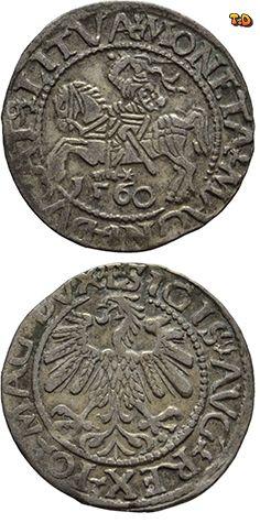N♡T. Польско-литовская уния 1/2 гроша 1560 Сигизмунд II Август Вес (гр): 1,22 Диаметр реальный(мм): 19 Качество чеканки: регулярное Металл: серебро