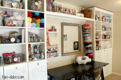 I've discovered a way to create a craft room! Woohoo! Craft/Sewing area using Ikea bookshelves at Twodaloo