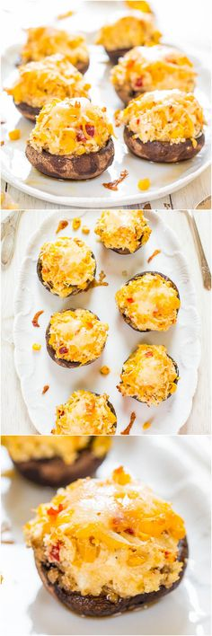 Triple Cheese and Corn-Stuffed Portobello Mushrooms - Mushroom fans will love these! Stuffed to the max with cheese! Oh yes!