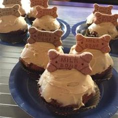 Doggie Birthday Cupcakes- I'm so doing this for Sadie's 1st bday this weekend! Sub. oil for applesauce and use whole wheat flour instead of white..frost with peanut butter/cream cheese mixture!