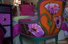 Custom upholstered pair of hand painted vintage arm chairs...  (2 of 2)  You would need just the right room for this.I like!!