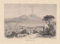 NEAPEL VESUV / Naples Vesuvius * Original Holzstich * Antique Print von 1884