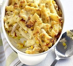 Tuna pasta bake - one of the few meals BOTH my children love and often ask for seconds! Serious comfort food, love it. Bbc Good Food Recipes, Cooking Recipes, Healthy Recipes, Bbc Recipes, Cooking Videos, Baked Pasta Recipes, Fish Recipes, Tinned Tuna Recipes, Chicken Recipes