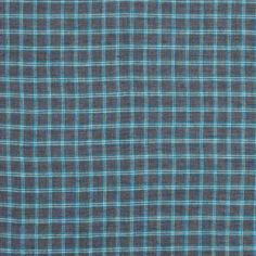 Gray and Turquoise Plaid Cotton Twill