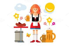 German woman with Beer. Clothes Icons. $6.00