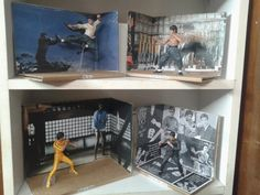 Bruce Lee. Figures bought off Aliexpress, displays handmade from a box.