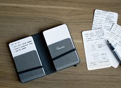 """Remarker: Slip Notebook by mkn design - Michael Nÿkamp, via Behance - So super cool. Options for different prints on the index card """"blocks"""" for writing. Notebook Art, Notebook Design, Bujo, Paper Organization, Organizing, Small Envelopes, Work Tools, Index Cards, Handmade Books"""