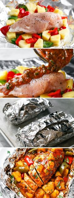 Pineapple Chicken Foil Packets in Oven - So easy and packed with tons of flavor. You'll love the simplicity! #Bbqchicken Oven Foil Packets, Grilled Foil Packets, Foil Packet Dinners, Foil Pack Meals, Foil Dinners, Oven Recipes, Grilling Recipes, Cooking Recipes, Easy Bbq Recipes