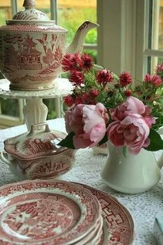 Beautiful pink transferware