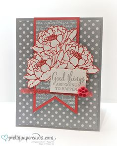 Stampin' Up! You've Got This newest stamp set. Love the colors used - slate and watermelon.
