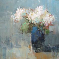 "Barbara Flowers, ""Hydrangeas in Blue Vase""- 36x36, oil on canvas --at Principle Gallery"