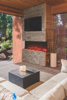 Not all electric fireplaces can be installed in outdoor patios, but there are some that are designed for outdoor use. Outdoor Fireplace Patio, Porch Fireplace, Fireplace Design, Outdoor Fireplaces, House With Porch, House Front, Traditional Fire Pits, Electric Fireplaces Direct, Electric Fireplace With Mantel
