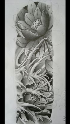 Pin de c&teck em tattos sleeve tattoos, flower tattoos e jap Japanese Wave Tattoos, Japanese Flower Tattoo, Japanese Tattoo Designs, Japanese Sleeve Tattoos, Japanese Flowers, Asian Tattoo Sleeve, Japan Tattoo Design, Lotus Tattoo Design, Lotus Design