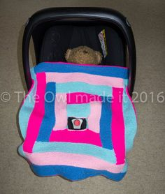Hand knitted car seat baby blanket car seat by TheOwlmadeit