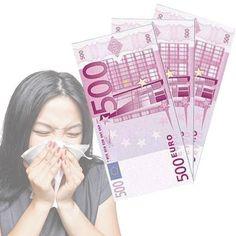 Sécate los mocos como un millonario con estos increíbles pañuelos con formato de billetes de 500 €. Fabricados en un material suave.