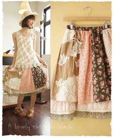 mori ~ love this skirt! Mori Girl Fashion, Ladies Fashion, 50 Style Dresses, Forest Girl, Whimsical Fashion, Altering Clothes, Clothes Pictures, Clothes Crafts, Japanese Fashion