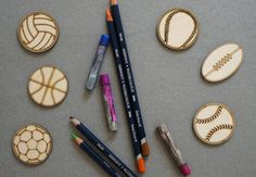 Sport set of 6 pcs laser cut plywood cutouts with engraving for DIY projects craft supplies by woodandroot. the best idea for art therapy :) ! (Craft Supplies & Tools  Scrapbooking Supplies  Embellishments & Die Cuts  wood  unfinished  Supplies  scrapbooking badge  pin  brooch  Patches  ball  football  baseball  basketball  tennis)