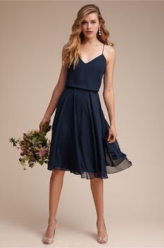 Navy bridesmaid dress with delicate straps and short length. By Jenny Yoo. Navy bridesmaid dress with delicate straps and short Blue Bridesmaid Dresses Short, Designer Bridesmaid Dresses, Blue Bridesmaids, Designer Dresses, Short Dresses, Bridesmaid Outfit, Short Chiffon Dress, Bhldn Bridesmaid Dresses, Bridesmade Dresses