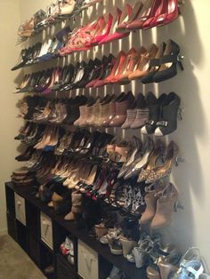 My wall of shoes Curtain rods cup hooks & cubbie shelves Isn't it pretty is part of Diy shoe rack - Closet Shoe Storage, Diy Shoe Rack, Shoe Closet, Closet Organization, Closet Shelves, Diy Shoe Organizer, Wall Shoe Rack, Organization Ideas, Shoe Storage Ideas Bedroom