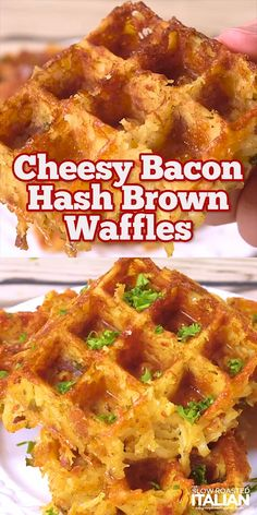 Cheesy Bacon Hash Bown Waffles are perfectly crisp on the outside and tender on . - breakfast - Cheesy Bacon Hash Bown Waffles are perfectly crisp on the outside and tender on the inside. A perfec - Crepes, Hashbrown Waffles, Savory Waffles, Cornbread Waffles, Zucchini Waffles, Churro Waffles, Bacon Waffles, Potato Waffles, Chile Relleno