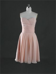Gorgeous Strapless Sweetheart Knee Length Pleated Chiffon Bridesmaid Dress BD1134 www.tidedresses.co.uk $94.0000