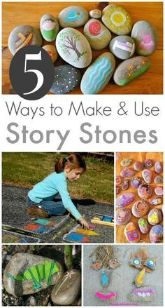 , 5 Story Stones Ideas :: Storytelling with Rocks. , 5 Story Stones Ideas: Storytelling with Rocks Summer Activities, Craft Activities, Toddler Activities, Rock Crafts, Arts And Crafts, Make Your Own Story, Art For Kids, Crafts For Kids, Story Stones