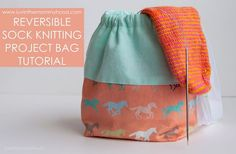 Reversible Sock Knitting Project Bag Tutorial on www.luvinthemommyhood.com