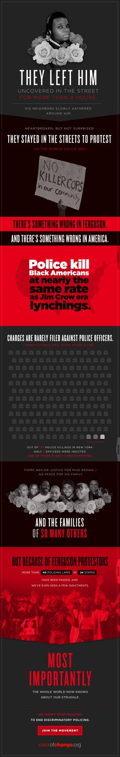 Rest in Power Mike Brown. #BlackAugust | ColorOfChange.org | #infographic Race relations in America