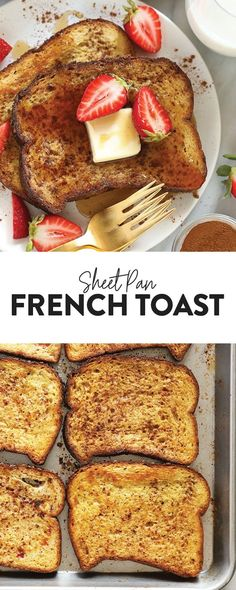 This Sheet Pan French Toast is the answer to your brunch dreams! It's ready to serve in under 30 minutes, and can easily be doubled to serve a crowd. Happy brunching! Oven Baked French Toast, French Bread French Toast, Banana French Toast, Cinnamon French Toast, French Toast Bake, Vegetarian Breakfast Recipes, Brunch Recipes, Milk Recipes, Keto Recipes