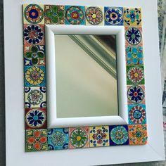 Clay Wall Art, Ceramic Wall Art, Mirror Painting, Mirror Tiles, Mosaic Pots, Southwestern Art, Mosaic Madness, Reclaimed Furniture, Diy Clock
