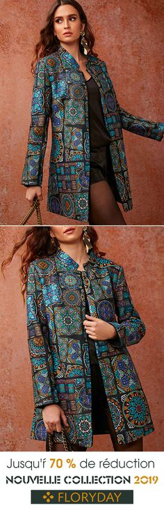 Long-sleeved coat with stand-up collar Fashion Mode, Asian Fashion, Fashion Outfits, Womens Fashion, African Print Fashion, African Fashion Dresses, African Traditional Dresses, Traditional Outfits, African Wear
