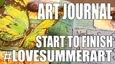 #lovesummerart: Art Journal Page - Sunflowers & Butterflies