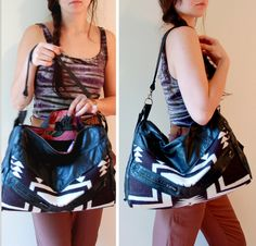Leather and Pendleton hobo purse Black and white by ArcOfADiver. $180.00 USD, via Etsy.