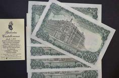 . Billetes del estado espa�ol. 5 piezas correlativas serie 1w. valor 1000 pesetas, emisi�n 17 de septiembre a�o 1971. disponemos de otras piezas de mas o menos calidad. si tienes duda consultanos.