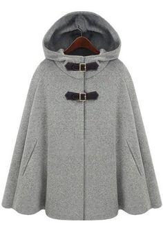 Love Cashmere! Love the Buckles! Cozy Grey Hooded Two Vegan Leather Buckle…