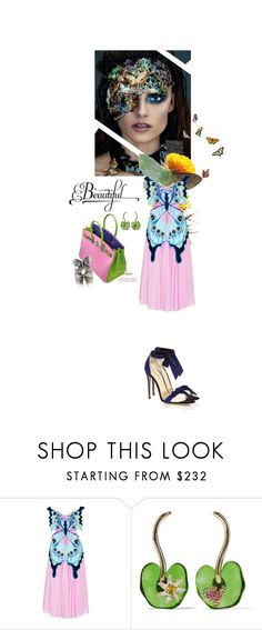 """2067.Beautiful Butterflies"" by silvinadupuywriter ❤ liked on Polyvore featuring Yuliya Magdych, Alexandre Birman, Hermès and Oscar de la Renta"