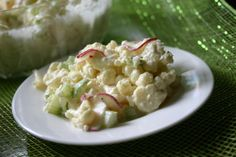 Low Carb No Potato Salad Here we go, Potato Salad with no Potatoes, that's right no potatoes.  We have substituted the potato with cauliflower and I know you are going to be very surprised! Cauliflower is a great friend to low-carb eaters, as it can be substituted for starchier foods such as potatoes and rice. Link to http://www.lowcarbrecipeideas.com/?p=717=true