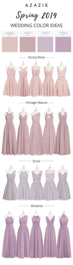 Vintage Mauve Bridesmaid Dresses Dusty Rose-a plain, muted and sophisticated pink. It makes a perfect wedding color for any wedding decoration. Dusty rose works well for all seasons. Wisteria Bridesmaid Dresses, Prom Dresses, Wedding Bridesmaids, Wedding Gowns, Wedding Rings, Azazie Bridesmaid, Wedding Venues, Perfect Wedding, Dream Wedding
